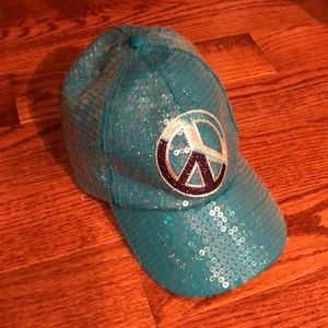 Justice sequin hat in aqua